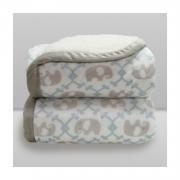 Cobertor Bebê Plush Com Sherpa Elefante Azul