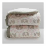 Cobertor Bebê Plush Com Sherpa Elefante Rosa