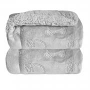 Cobertor Bebê Plush Com Sherpa Ferrete Cinza Ovelha