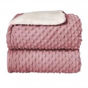 Cobertor Bebê Plush Com Sherpa Dots Rosa Bolinhas