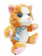 Gatinho de Pelucia com olhos brilhantes com Cachecol 20 cm