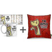 Kit Caneca + Almofada Cães e Gatos Um sábado Qualquer Presente