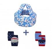 Kit capacete de proteção e joelheira para bebês engatinhar e andar