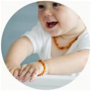 Kit Colar Pulseira Âmbar Baltico p/ Dentição do Bebê