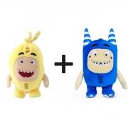 Kit com 2 Bonecos de Pelúcia Oddbods - 1 Amarelo e 1 Azul - Pogo e Bubbles
