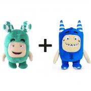 Kit com 2 Bonecos de Pelúcia Oddbods - 1 Verde e 1 Azul