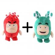 Kit com 2 Bonecos de Pelúcia Oddbods - 1 Verde e 1 Vermelho Zee e Fuse