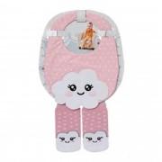 Kit com 2 conjuntos de babador menina + meias combinadas 4 a 8 meses