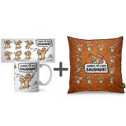 Kit  Presente Caneca + Almofada Cães e Gatos Um Sabado Qualquer Presente Geek