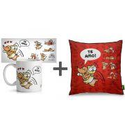Presente Kit Caneca + Almofada Cães e Gatos Um Sabado Qualquer