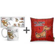 Kit Caneca + Almofada Cães e Gatos Te Amo