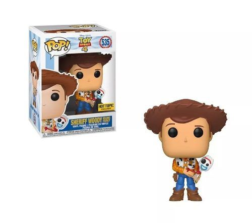 Funko Pop Toy Story 4 Woody Sheriff com Garfinho Exclusivo Hot Topic  - Game Land Brinquedos