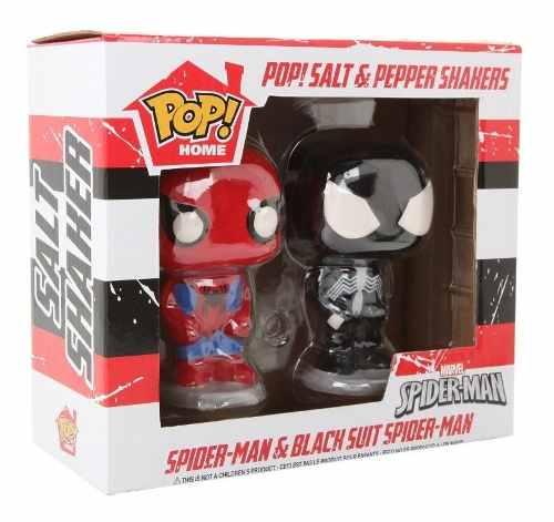 Funko Conjunto para colocar Sal e Pimenta Spiderman & Black Suit Spider  - Game Land Brinquedos