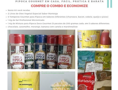 Kit Pipoca Gourmet Salgada Doce 10 Sabores + Oleo + Milho  - Game Land Brinquedos