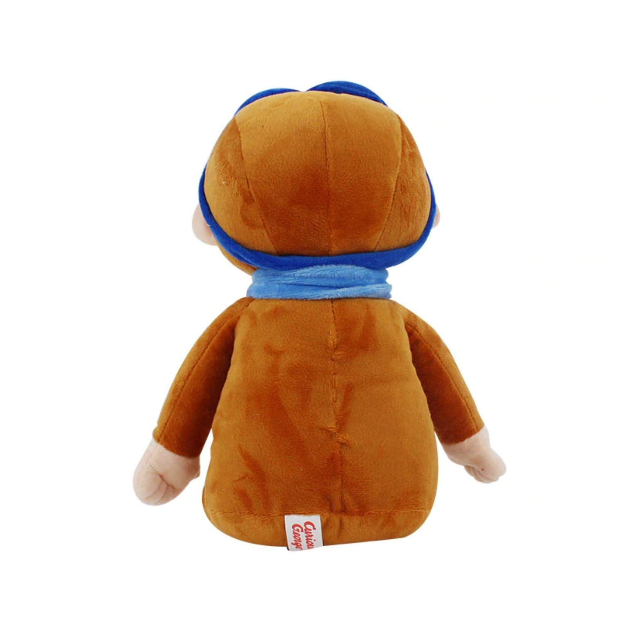 Bicho de Pelucia George Curioso Cachecol Azul  30 cm  - Game Land Brinquedos