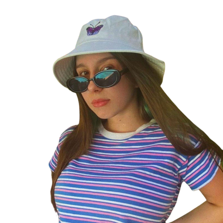 Boné Chapéu Bucket Hat Branco Borboleta Bordada Estiloso Pronta-entrega Tumblr Tiktok Vsco  - Game Land Brinquedos