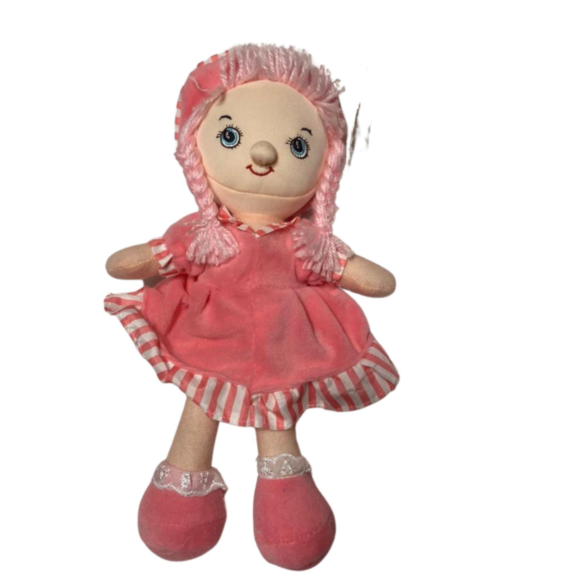 Boneca de Pano Vestido Rosa e Cabelo de Lã 30 cm  - Game Land Brinquedos