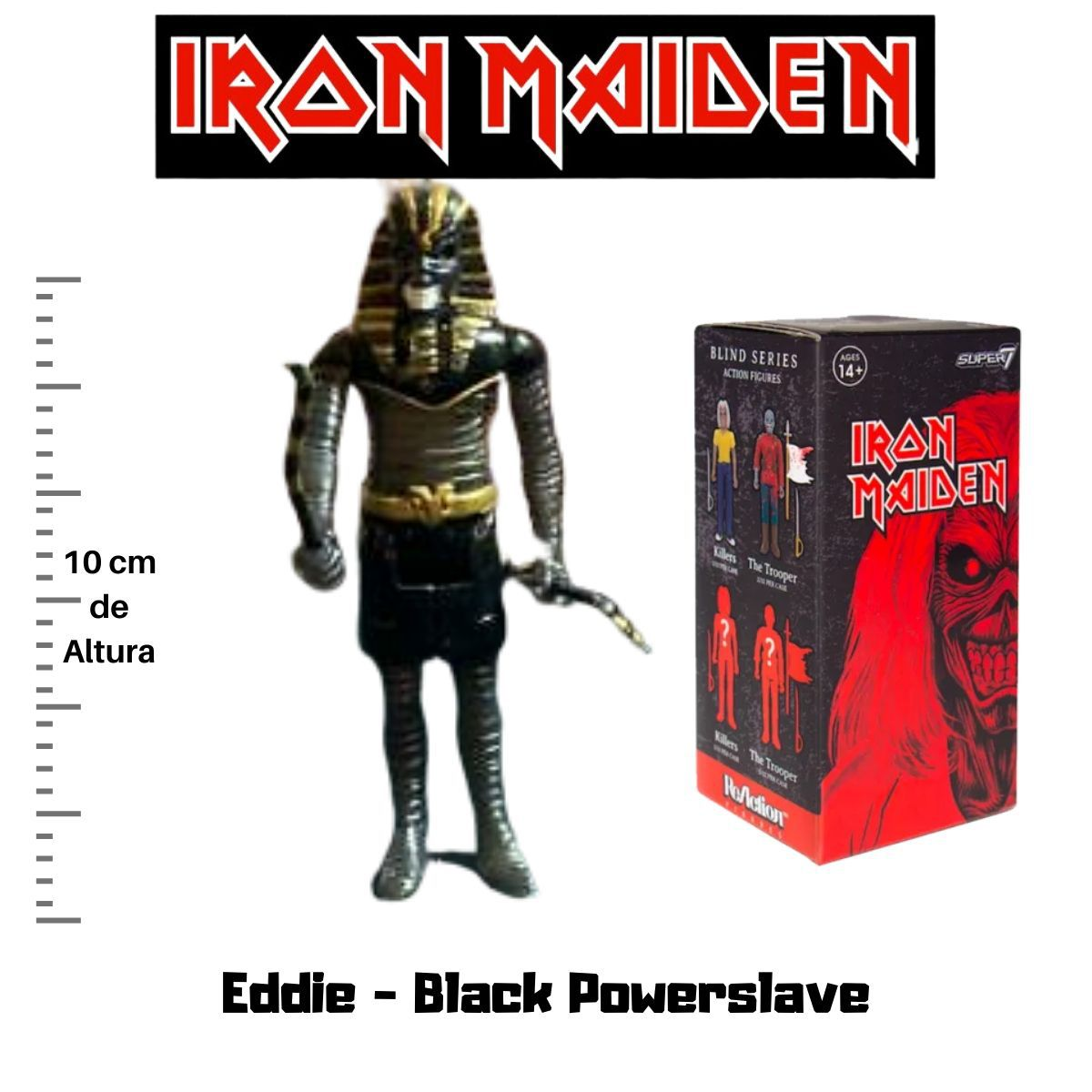 Boneco Action Figure Iron Maiden Reaction Eddie Black Powerslave  - Game Land Brinquedos