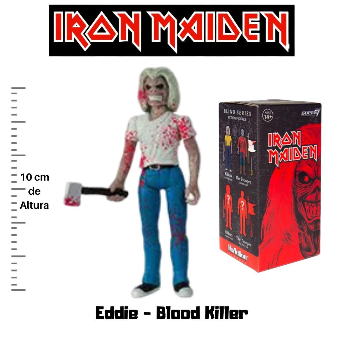 Boneco Action Figure Iron Maiden Reaction Eddie Blood Killer  - Game Land Brinquedos