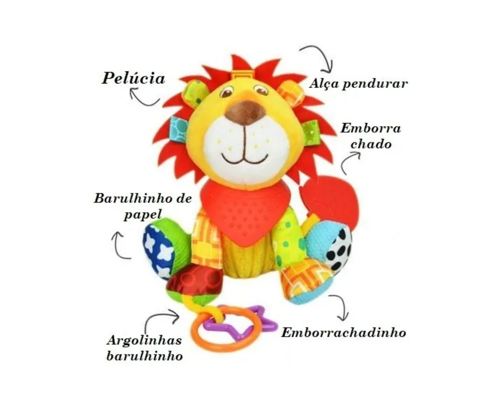 Brinquedo Chocalho Mordedor Leão bebê Interativo Sozzy  - Game Land Brinquedos