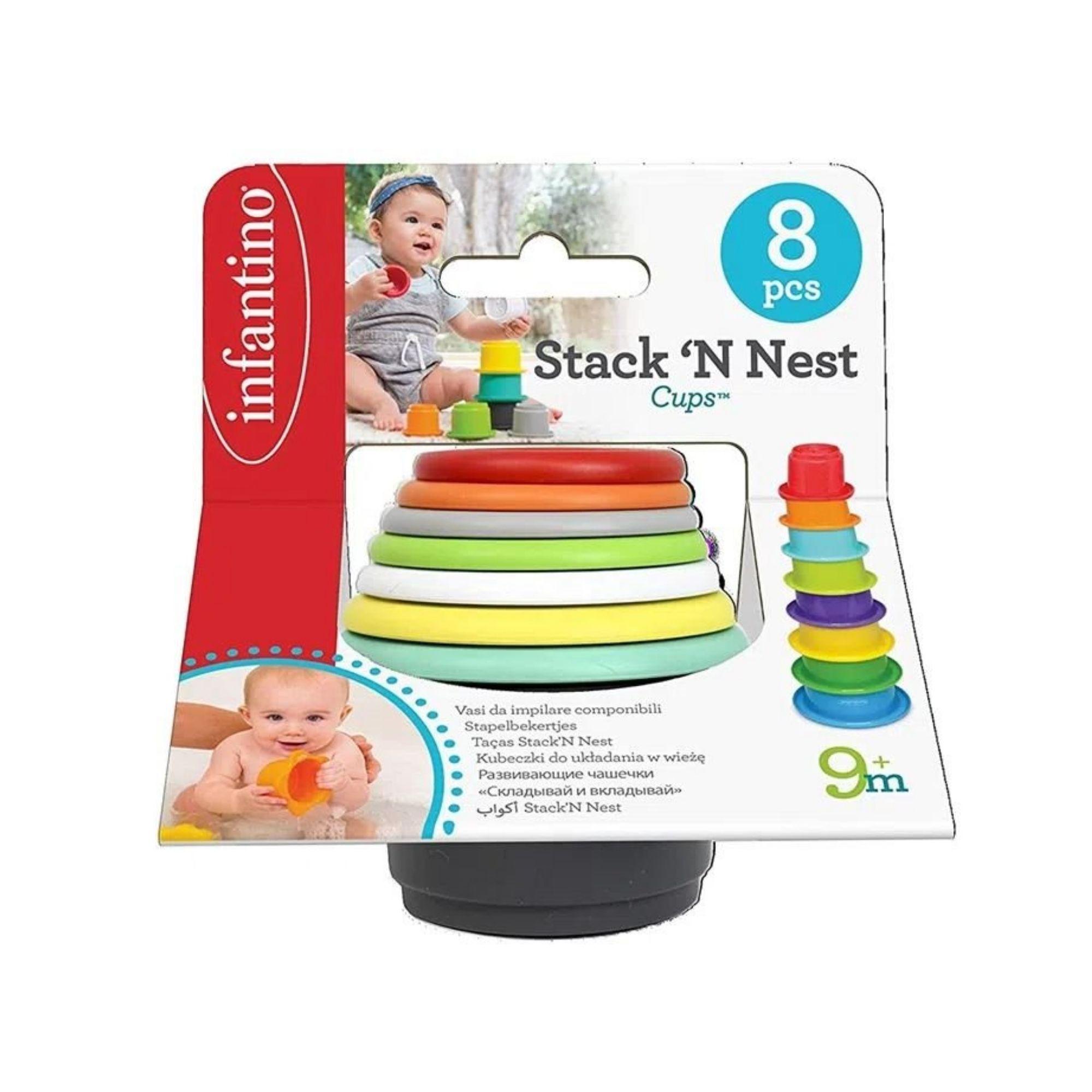 Brinquedo de Banho Copos Empilháveis Infantino Interativo  - Game Land Brinquedos