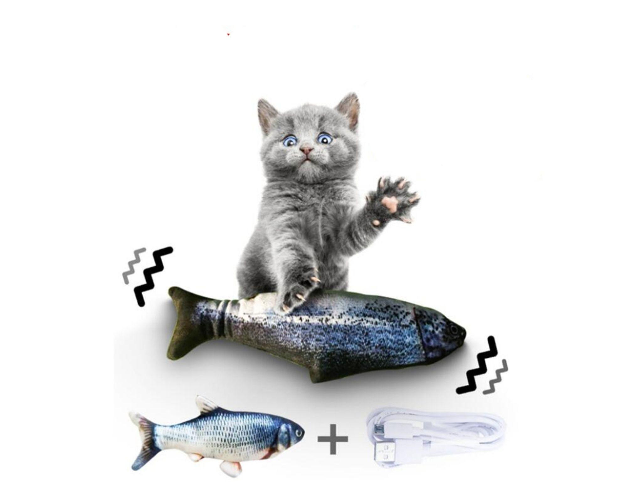 Brinquedo Interativo Gatos peixe elétrico que Balança USB  - Game Land Brinquedos