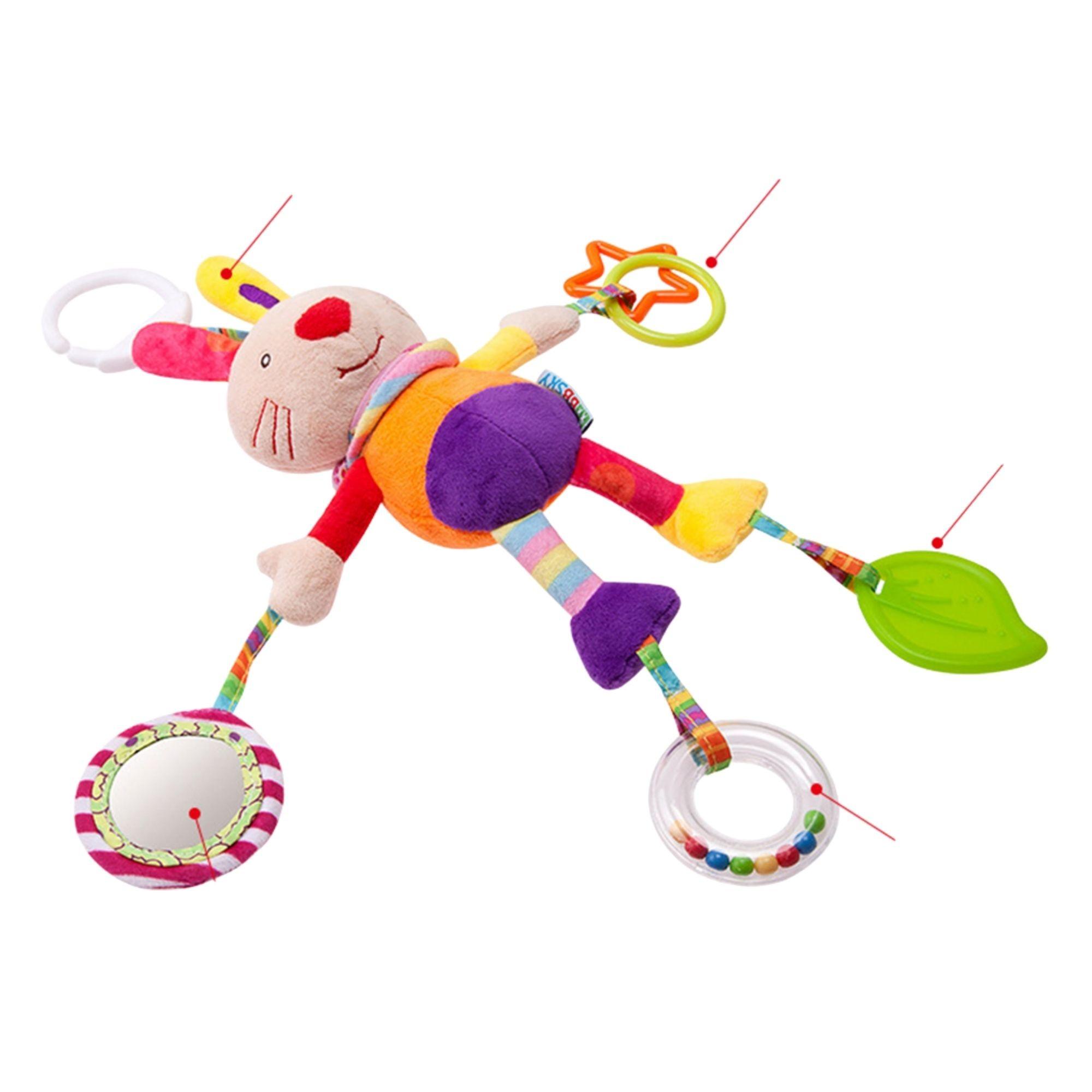 Brinquedo para Bebê Chocalho Mordedor Móbile Coelhinho   - Game Land Brinquedos