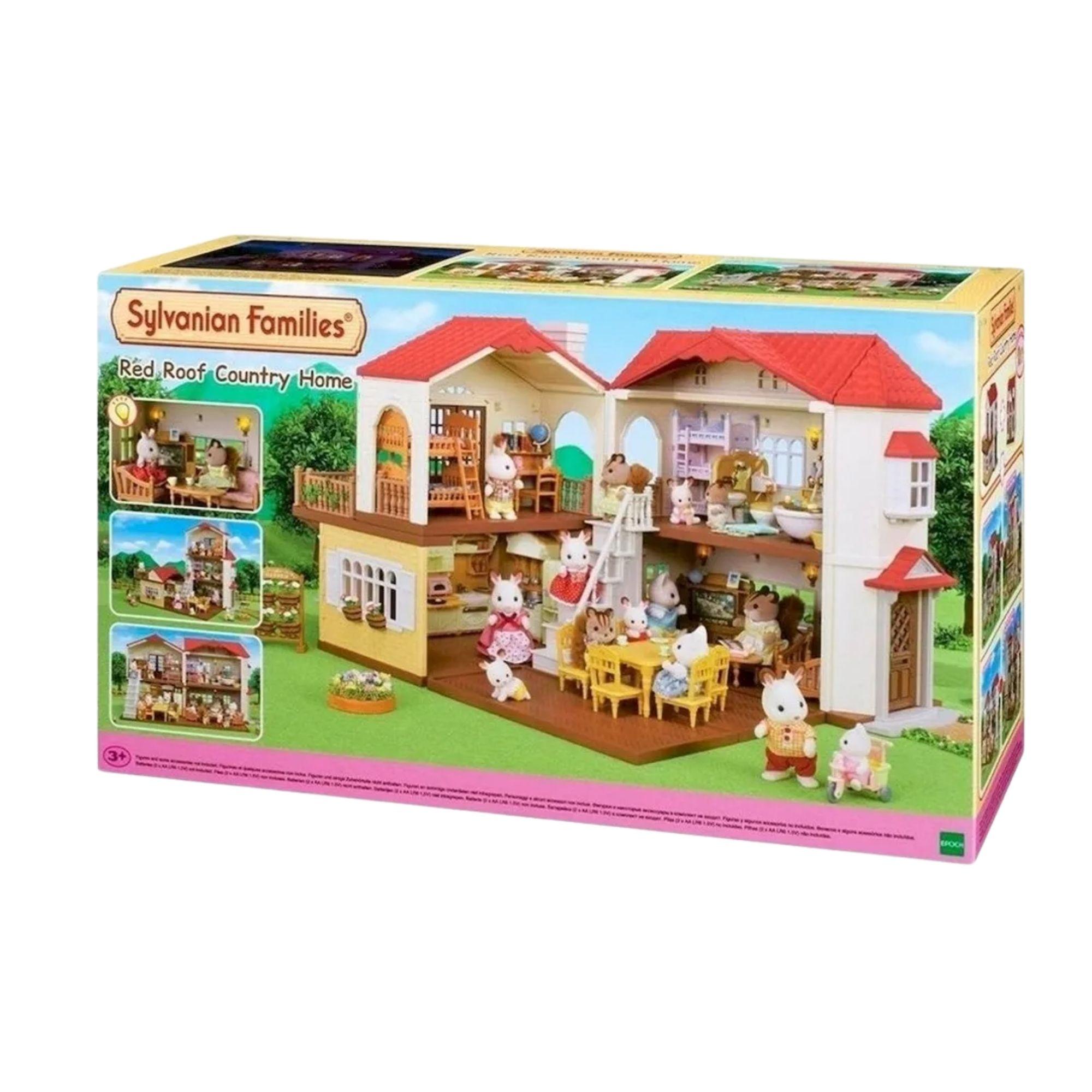 Brinquedo Sylvanian Families Casa Com Telhado Vermelho e Luzes  - Game Land Brinquedos