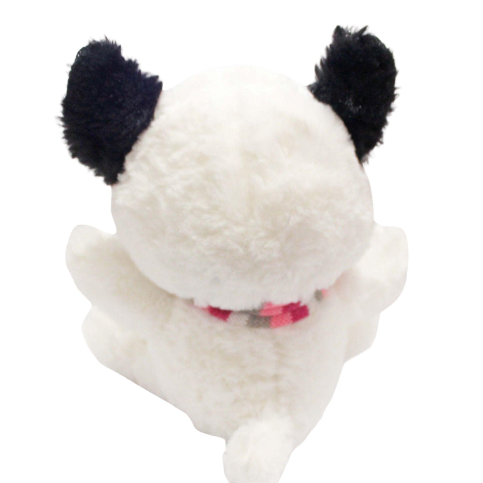 Cachorro Branco Piratinha de Pelucia com Olhos Brilhantes  25 cm  - Game Land Brinquedos