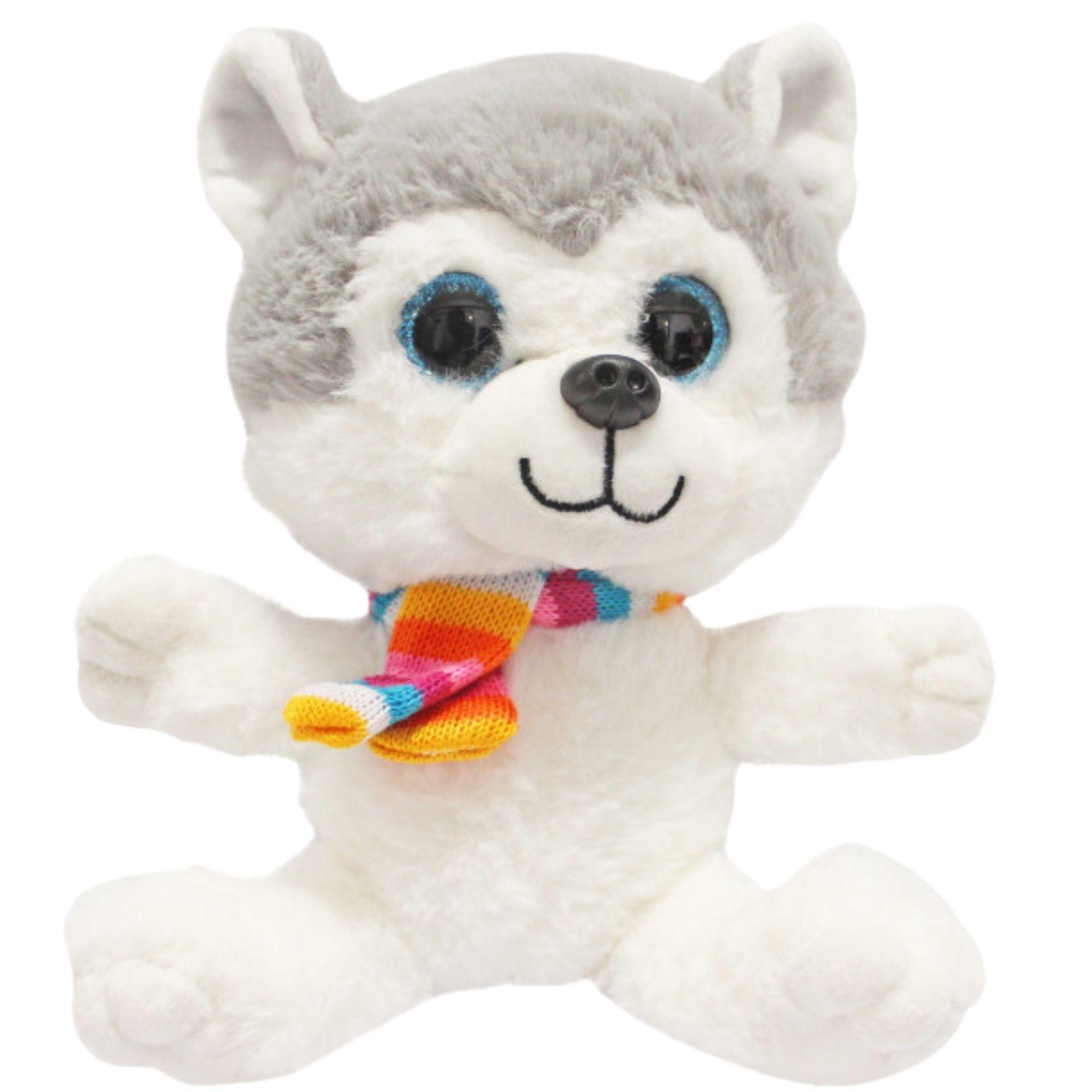 Cachorro Husky de Pelucia com Olhos Brilhantes  25 cm  - Game Land Brinquedos
