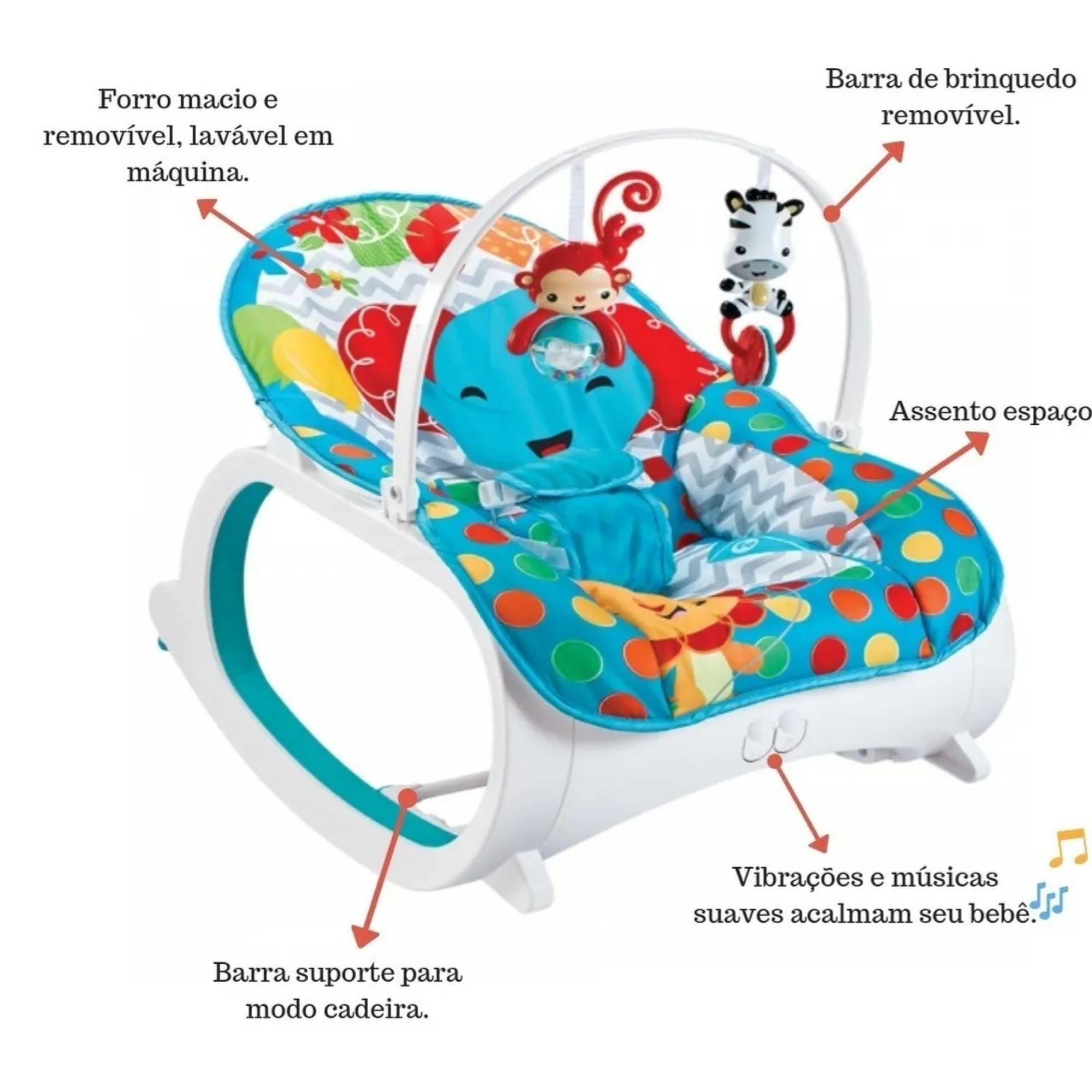 Cadeirinha de Balanço para Bebê Musical Vibratória Azul  - Game Land Brinquedos