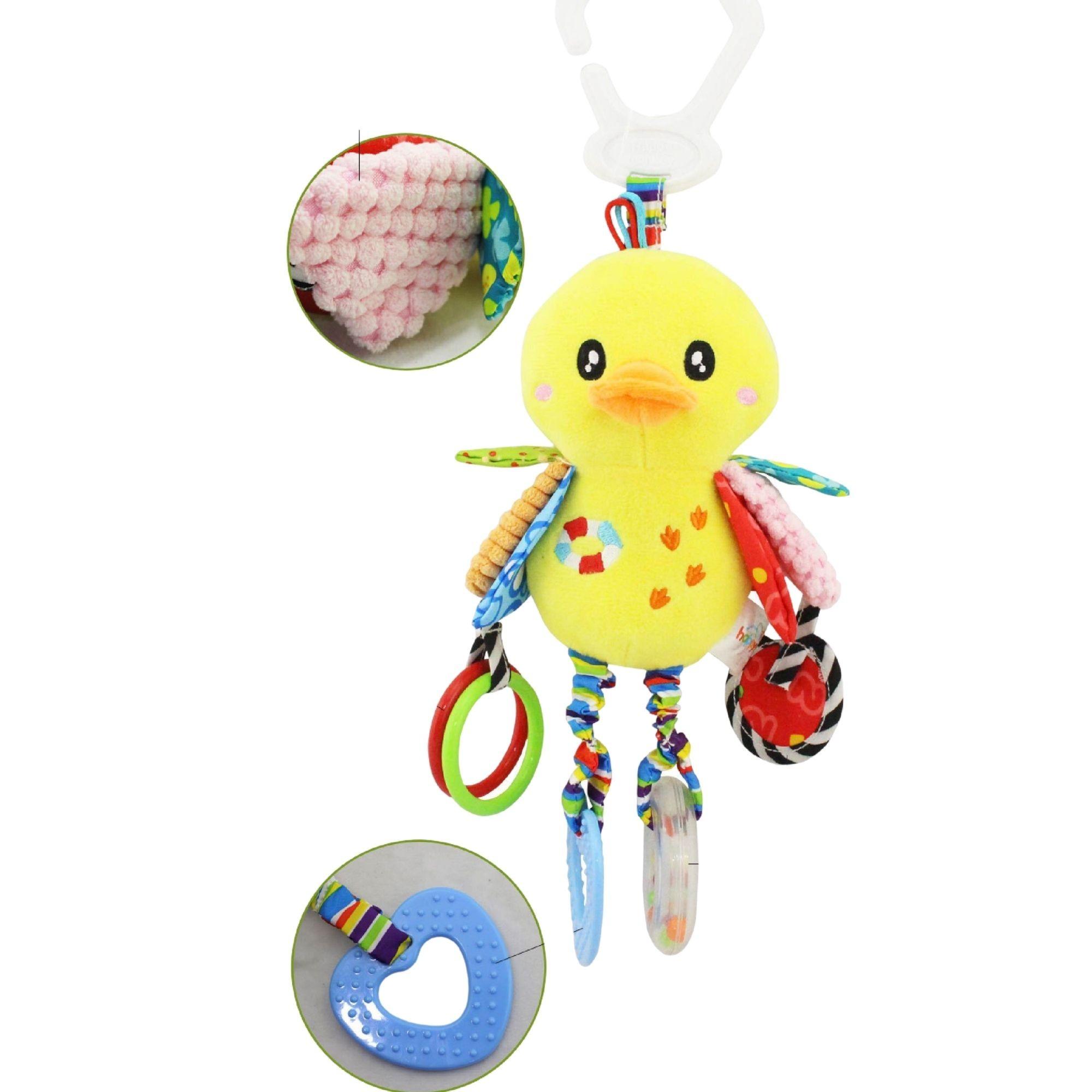 Chocalho de Pelucia Patinho para bebês mordedor interativo colorido  - Game Land Brinquedos