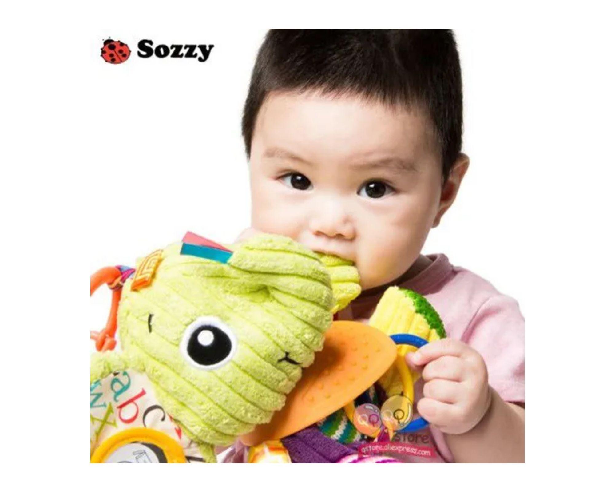 Chocalho Mordedor Elefante de Pelucia Bebê Sozzy  - Game Land Brinquedos