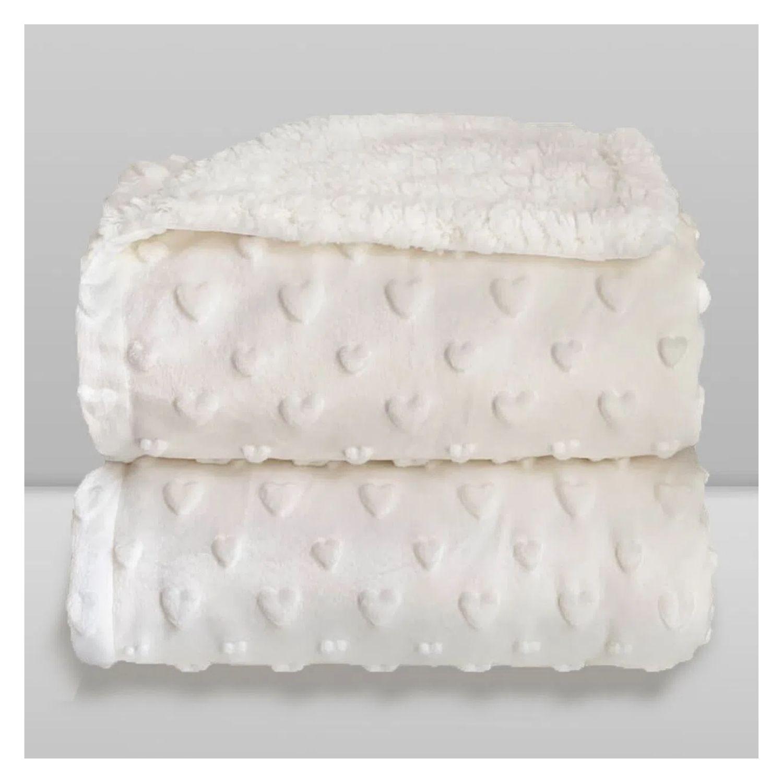 Cobertor Bebê Plush Com Sherpa Coração Branco Hearts  - Game Land Brinquedos