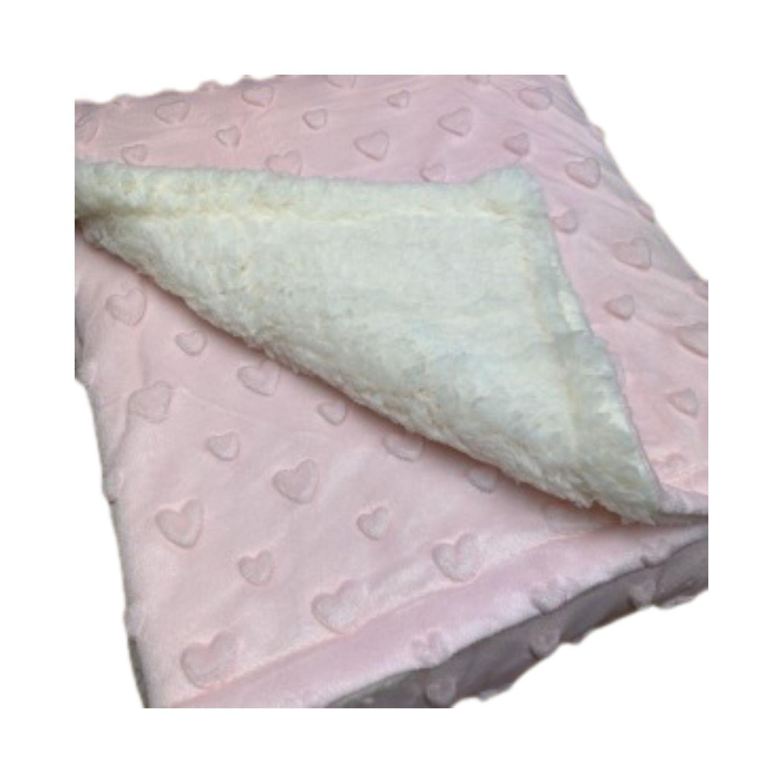 Cobertor Bebê Plush Com Sherpa Coração Rosa Hearts  - Game Land Brinquedos