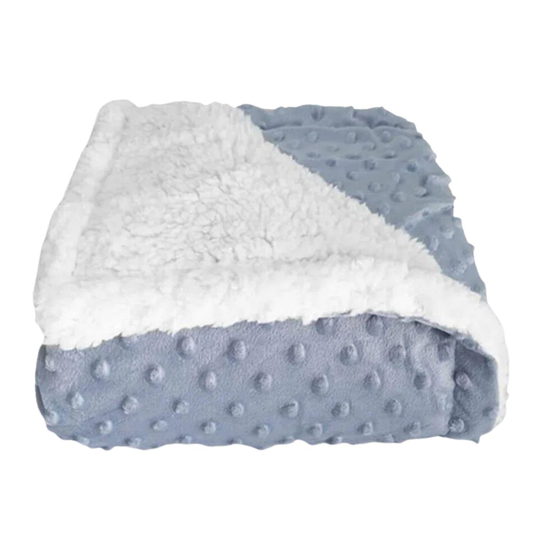 Cobertor Bebê Plush Com Sherpa Dots Azul Bolinhas  - Game Land Brinquedos