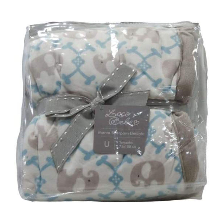 Cobertor Bebê Plush Com Sherpa Elefante Azul  - Game Land Brinquedos