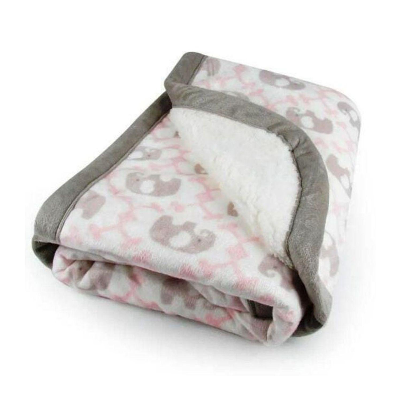 Cobertor Bebê Plush Com Sherpa Elefante Rosa  - Game Land Brinquedos