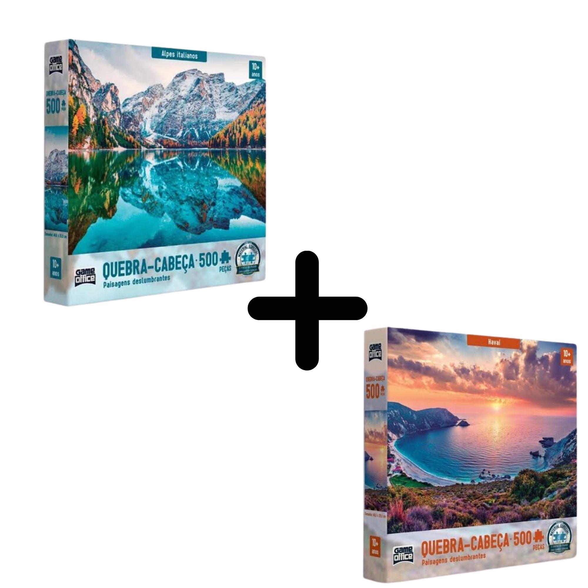 Kit com 2 quebra cabeças de 500 peças Paisagens Deslumbrantes Toyster  - Game Land Brinquedos