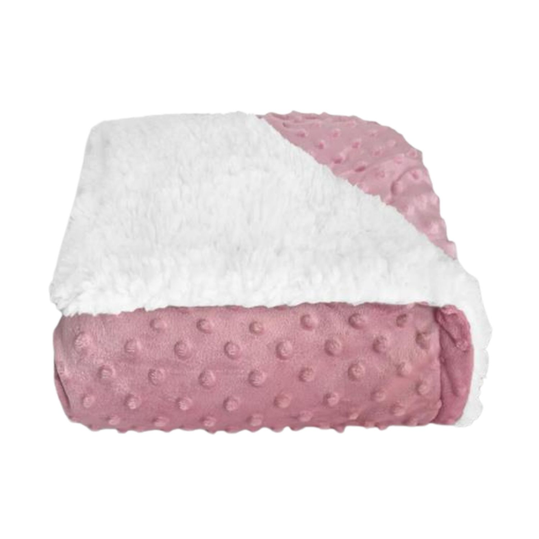 Cobertor Bebê Plush Com Sherpa Dots Rosa Bolinhas  - Game Land Brinquedos