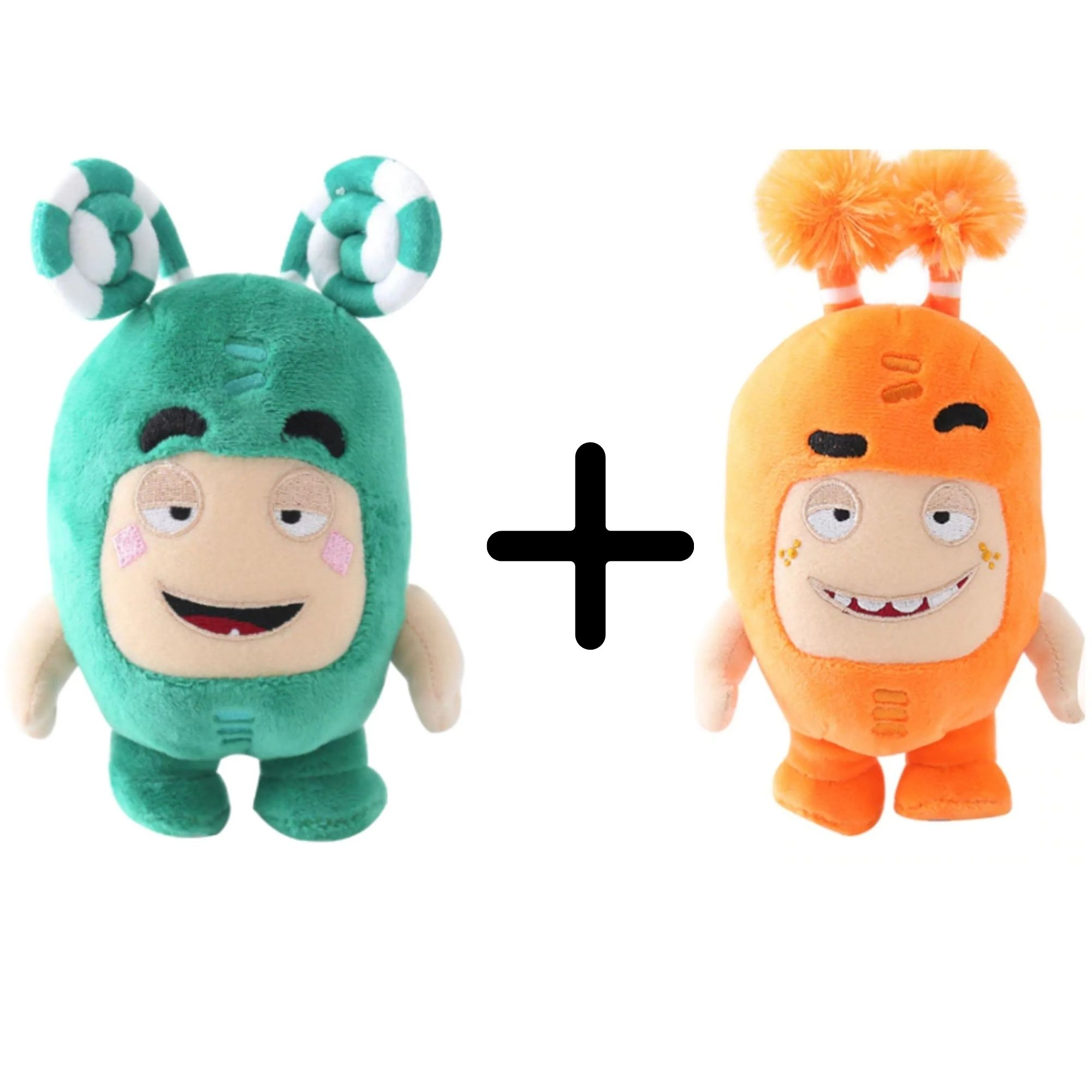 Kit com 2 Bonecos de Pelúcia Oddbods - 1 Verde e 1 Laranja - Zee e Slick  - Game Land Brinquedos