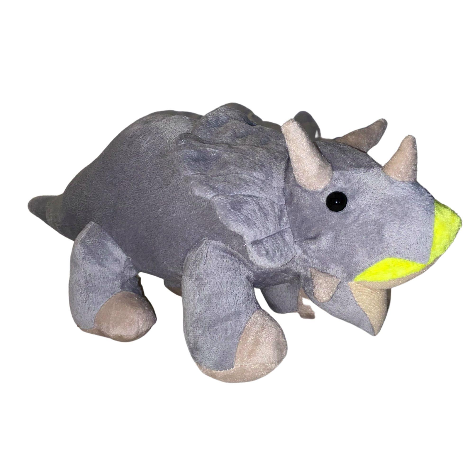 DInossauro Triceratops Cinza de Pelúcia 50 cm  - Game Land Brinquedos