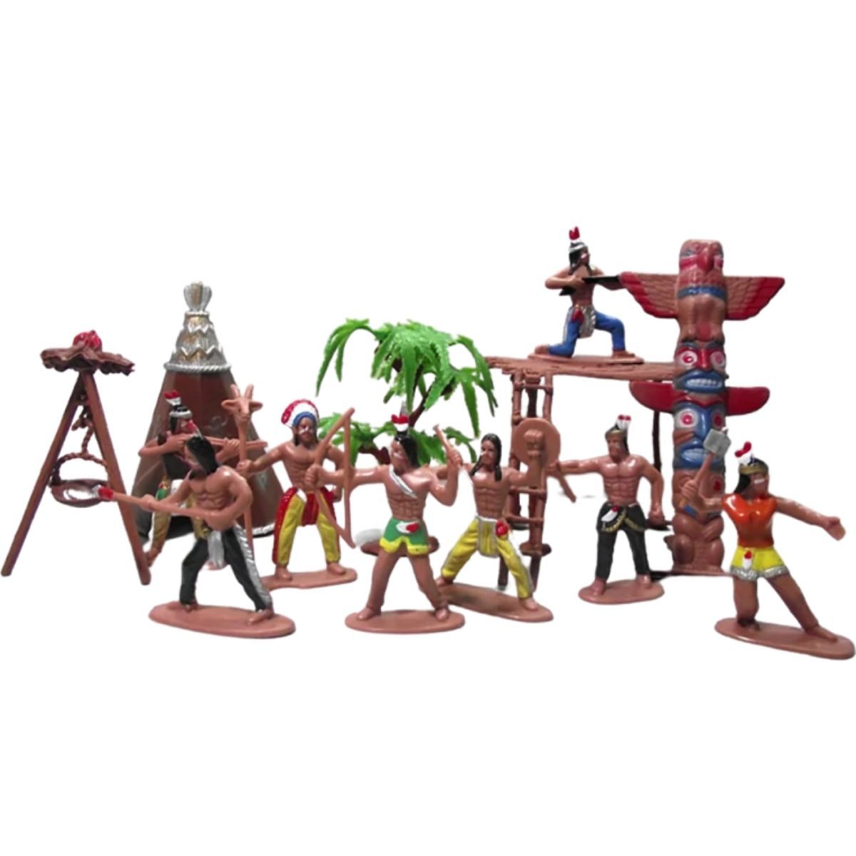Forte Apache Conjunto com Bonecos Indios Wild West  - Game Land Brinquedos