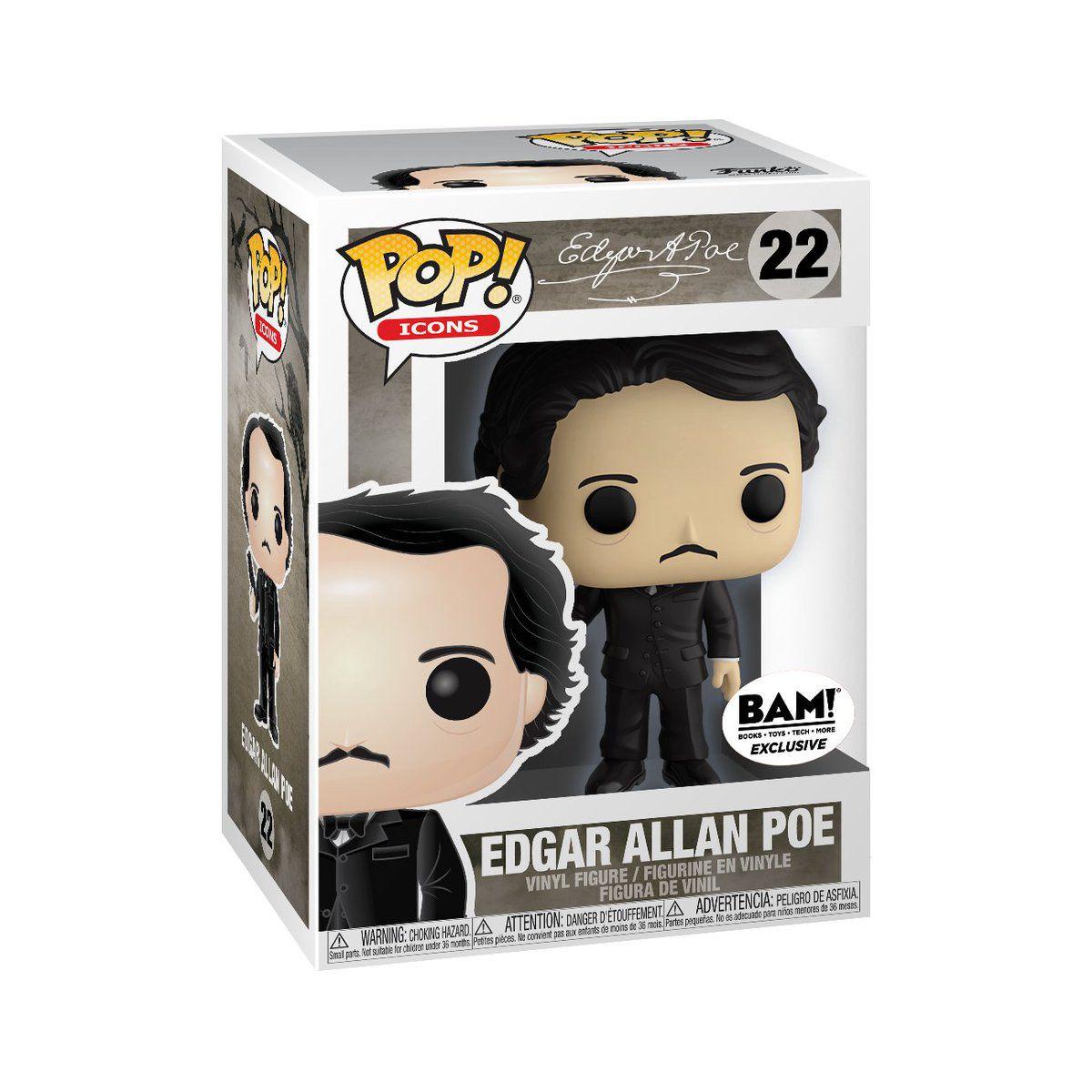 Funko Pop Edgar Allan Poe com Corvo Exclusivo Bam 22  - Game Land Brinquedos