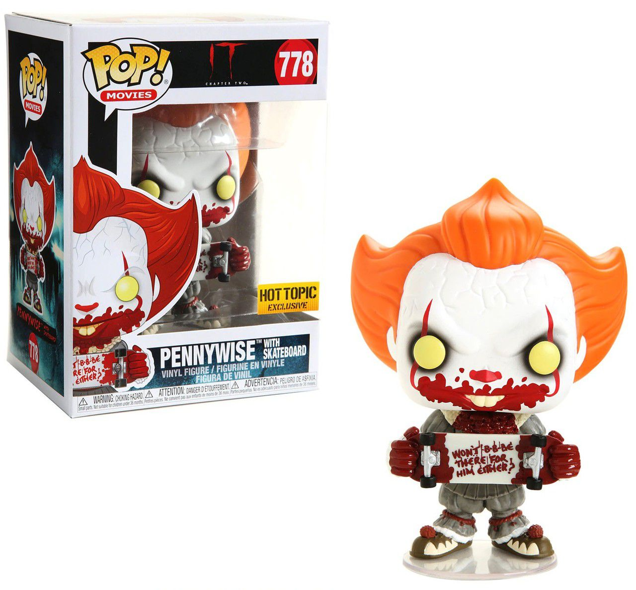 Funko Pop It Pennywise with Skateboard Hot Topic #778  - Game Land Brinquedos