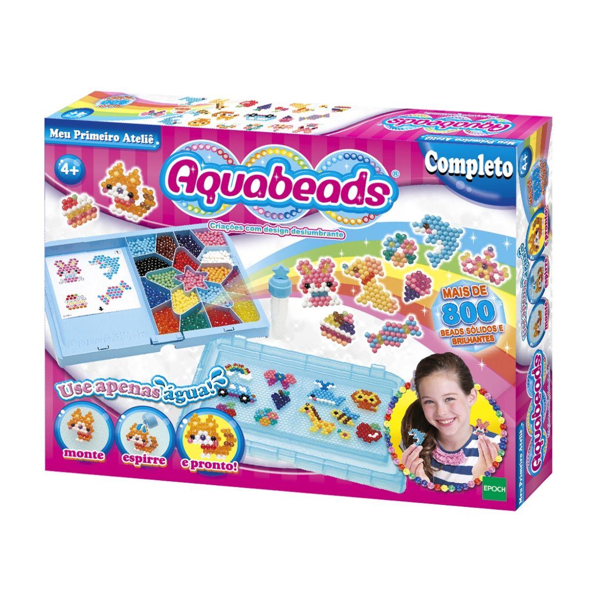 Kit Aquabeads com Meu Primeiro Atelie + Refil Cristal Charm  - Game Land Brinquedos