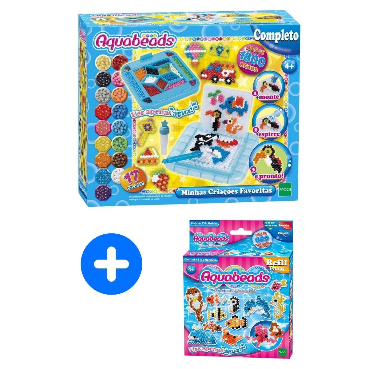 Kit Aquabeads Minhas Criações Favoritas + Refil Vida Marinha  - Game Land Brinquedos