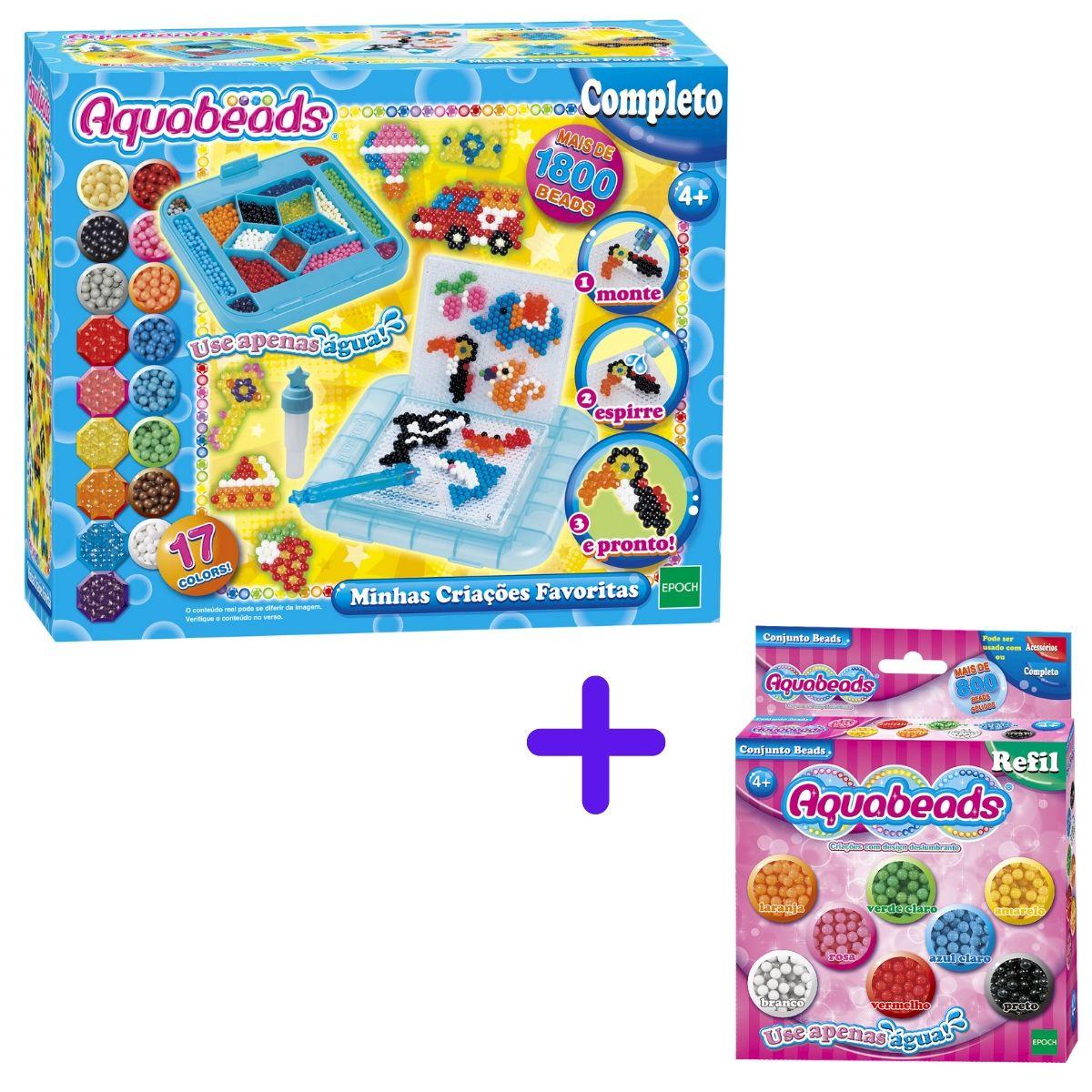 Kit Aquabeads Refil Diversão + Minhas Criações Favoritas  - Game Land Brinquedos