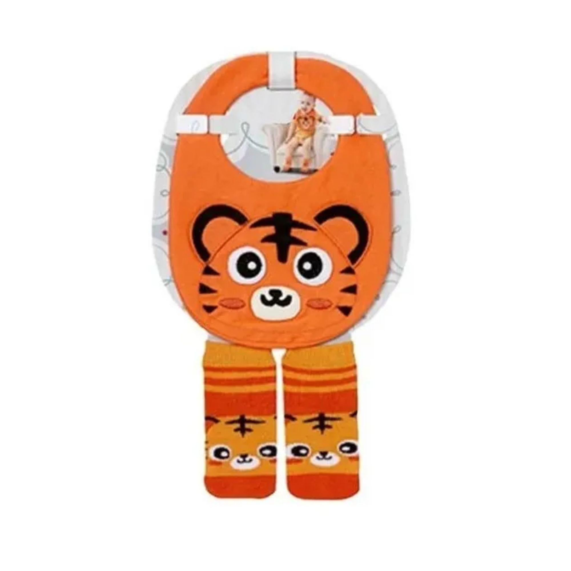 Kit Babador + meia para Bebê Infantil mesma estampa Colorido 4 a 8 meses  - Game Land Brinquedos