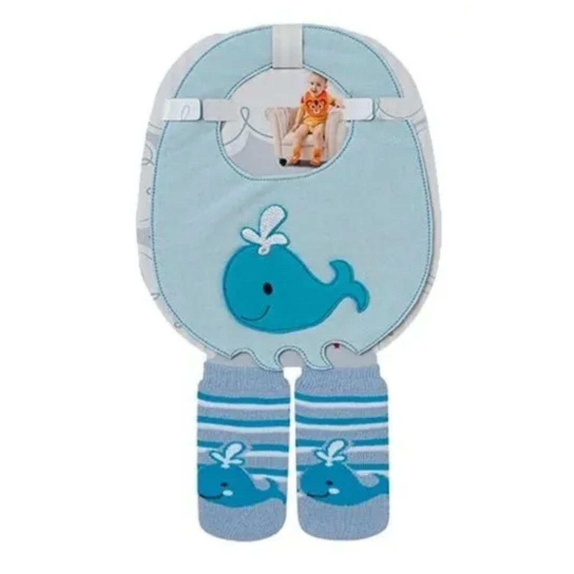 Kit Babador + meia para bebê mesma estampa 4 a 8 meses  - Game Land Brinquedos